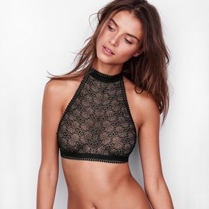 victoria's secret high neck sheer lace bralette